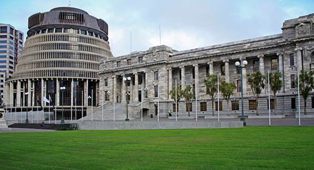 Beehive and Parliament buildings, New Zealand
